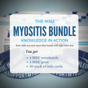 Myositis bundle, wristbands, pens, info cards