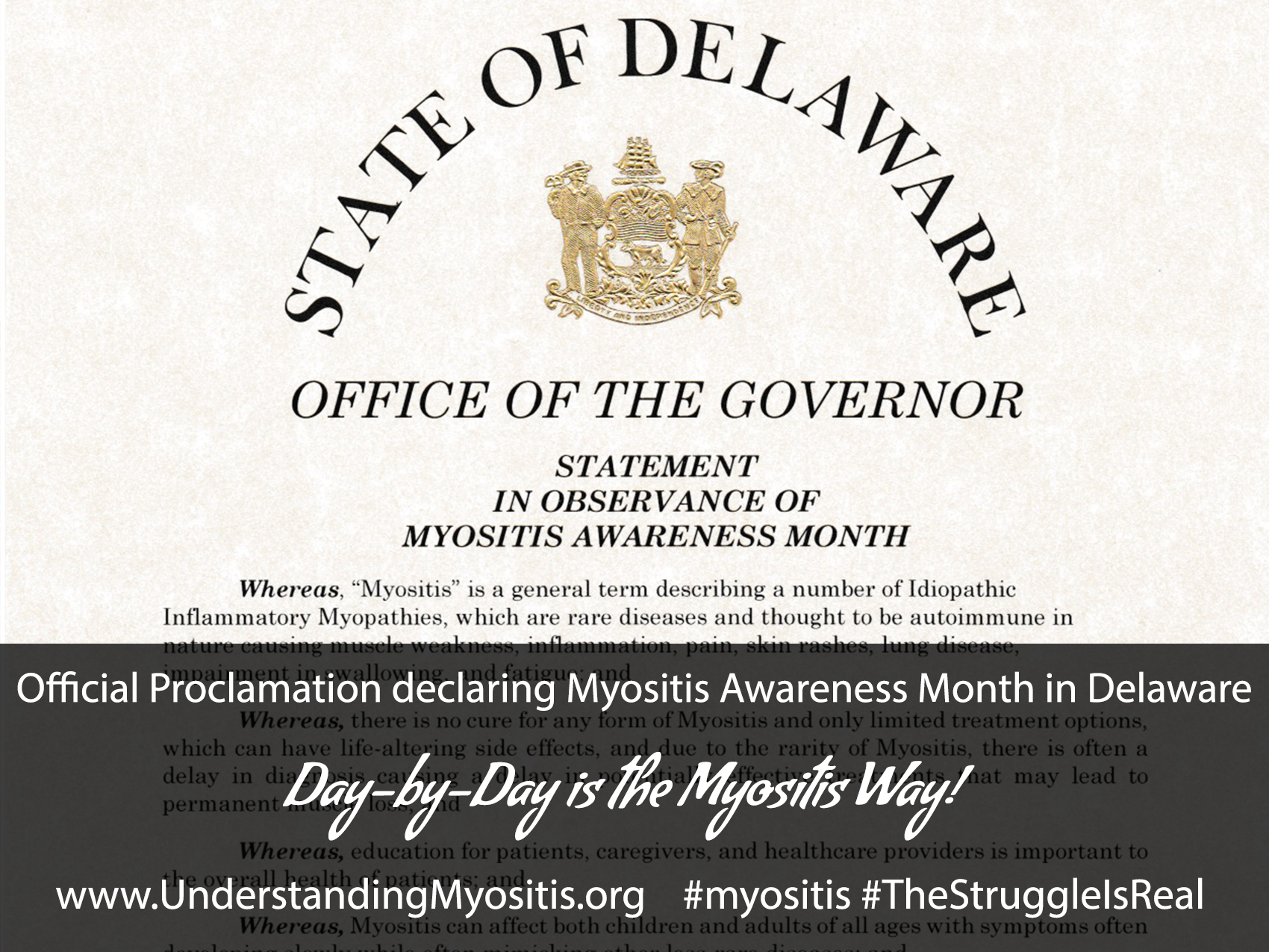 Delaware declares September 2015 Myositis Awareness Month