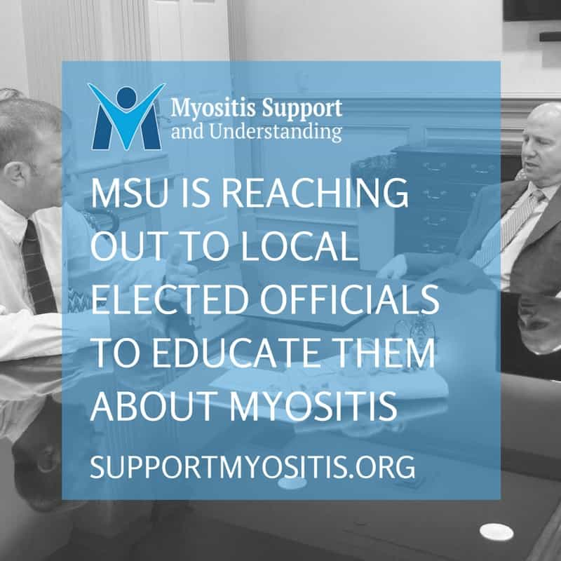 President of MSU talking with Gov. of Delaware about Myositis
