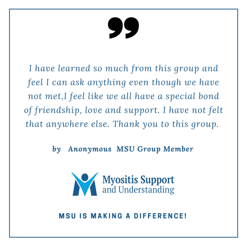 Member says they have learned so much from the Myositis group