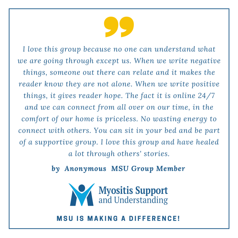 Member says Myositis group is filled with understanding