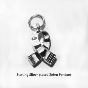 Sterling Silver plated Zebra pendant represents rare diseases like Myositis