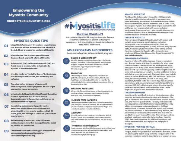 Inside of the MSU Myositis Brochure