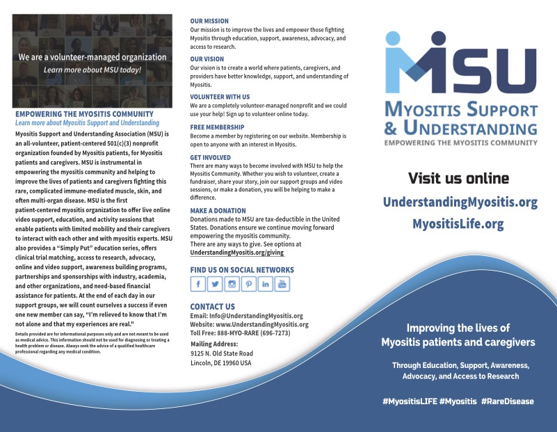 Outside of the MSU Myositis Brochure