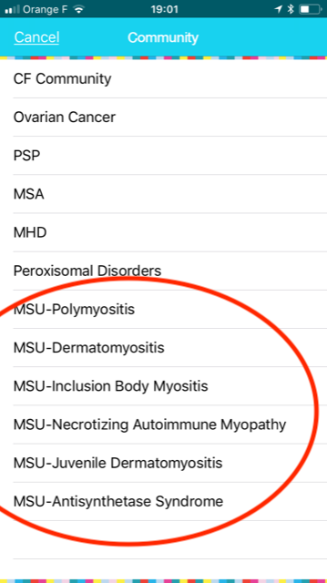 Choose your type of myositis in the app