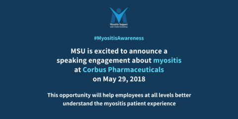 MSU is excited to announce a speaking engagement about myositis at Corbus Pharmaceuticals on May 29, 2018