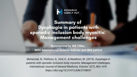 Summary of Dysphagia in patients with sporadic inclusion body myositis: Management challenges
