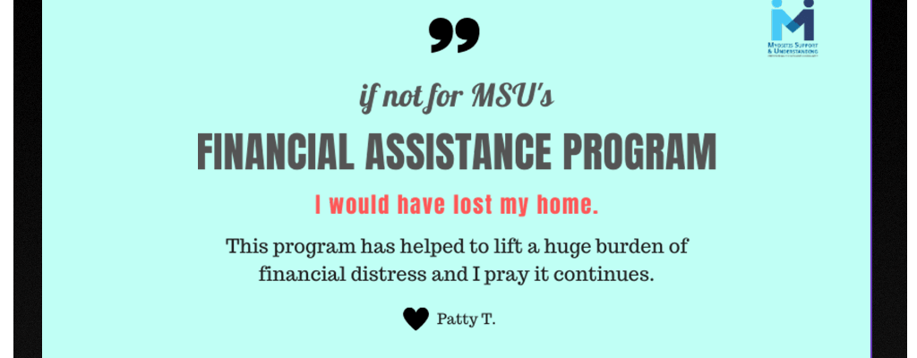 Patty shares her thanks for the Myositis Support and Understanding financial assistance program