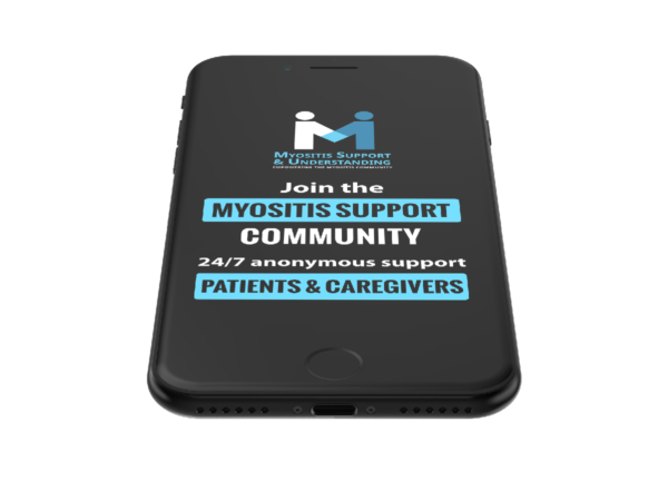 Myositis Support Community in partnership with Inspire mockup graphic