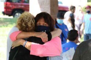 Gladys Landman hugging a friend, 2nd Annual Myositis Empower Walk