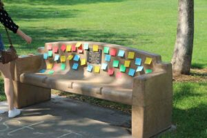 Post it with a purpose, bench for Robert Lanman, 2nd Annual Myositis Empower Walk