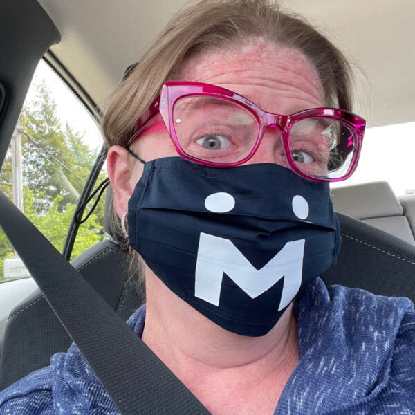 MSU Logo Facemask worn by Emily Filmore